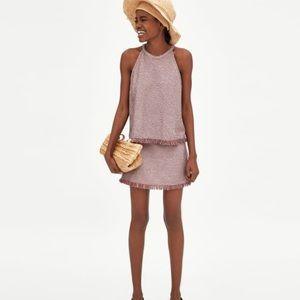 NWT Zara mini faux tweed skirt!